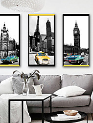 cheap -Landscape Architecture Illustration Wall Art,PVC Material With Frame For Home Decoration Frame Art Living Room Bedroom Kitchen Dining