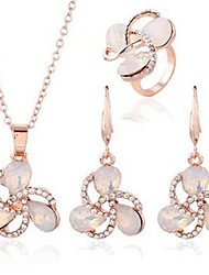 cheap -Women's Opal Jewelry Set - Imitation Diamond Flower Classic, Fashion Include Drop Earrings / Necklace Gold For Daily