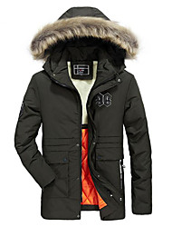 cheap -Men's Regular Parka Coat,Casual Daily Plus Size Solid-Cotton Rayon Long Sleeves