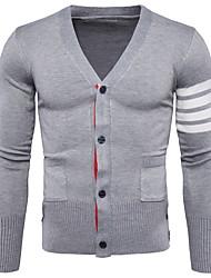 Standard Cardigan Da uomo-Casual Monocolore A V Manica lunga Cotone Quattro stagioni Sottile Media elasticità