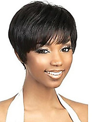 European African  Women Black Color Synthetic Wigs Afro Straight Short Wigs