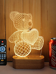 cheap -1 Set Of 3D Solid Wood LED Night Light USB Mood Lamp Remote Control Dimming Gift Bear