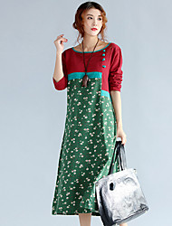 cheap -Women's Daily Swing Dress,Polka Dot Color Block Round Neck Midi Long Sleeve Cotton Spring Fall Mid Rise Micro-elastic Opaque