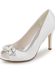 cheap -Women's Shoes Satin Spring Summer Basic Pump Wedding Shoes Stiletto Heel Peep Toe Rhinestone for Wedding Party & Evening Silver Red Blue