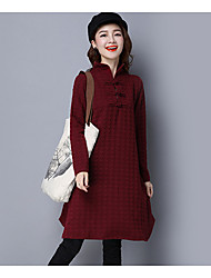 cheap -Women's Daily Loose Dress,Solid Stand Knee-length Above Knee Long Sleeve Others Fall Mid Rise Inelastic Opaque