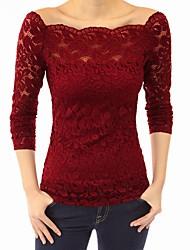 abordables -Tee-shirt Femme, Couleur Pleine Rétro Epaules Dénudées