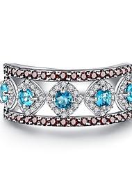 preiswerte -Damen Bandring Kubikzirkonia 1 Blau Zirkon versilbert Kreisform Geometrische Form Prinzessin Klassisch Retro Elegant Modisch Europäisch