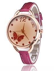 Mulheres Relógio Casual Chinês Quartzo Couro Banda Borboleta Preta Branco Azul Vermelho Rosa Roxa Rose