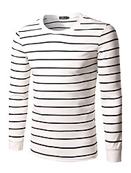 cheap -Men's Daily Plus Size Sexy T-shirt,Striped Round Neck Long Sleeves Cotton Spandex Medium
