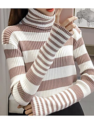 cheap -Women's Daily Going out Short Pullover,Striped Turtleneck Long Sleeves Cotton Winter Autumn Medium Micro-elastic
