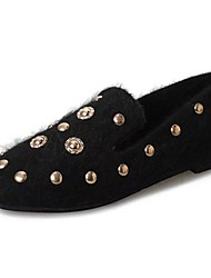 Femme Chaussures Cachemire Hiver Confort Mocassins et Chaussons+D6148 Bout carré Rivet Pour Décontracté Noir Beige Marron