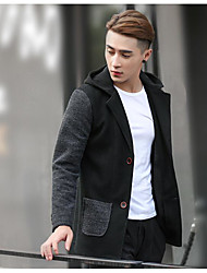 cheap -Men's Daily Going out Korean Winter Fall Jacket,Color Block Long Polyester