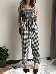 abordables -Mujer Simple Tejido Oriental Noche Casual/Diario Otoño Tank Tops Pantalón Trajes,Con Tirantes Un Color Bloques Sin Mangas Algodón