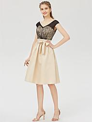 cheap -A-Line Princess V-neck Knee Length Lace Satin Bridesmaid Dress with Laces Bow(s) Sash / Ribbon by LAN TING BRIDE®