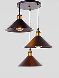Недорогие -старинная промышленная металлическая подвеска лампа 3 головка люстра гостиная столовая