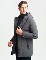 cheap -Men's Down Coat,Casual Daily Solid-Polyester Spandex Long Sleeves