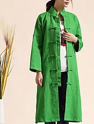 Dámské Tisk Běžné/Denní Jednoduchý Kabát-Podzim Bavlna Kulatý Dlouhý rukáv Standardní