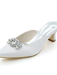 preiswerte -Damen Schuhe Satin Frühling Sommer Pumps Hochzeit Schuhe Quadratischer Zeh Strass Für Hochzeit Party & Festivität Purpur Rot Blau