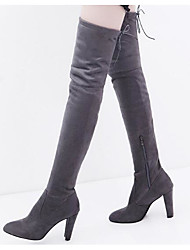 cheap -Women's Shoes Nubuck leather Fall Winter Comfort Fashion Boots Boots Over The Knee Boots For Casual Red Gray Black