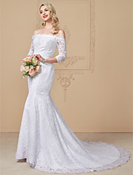 cheap -Mermaid / Trumpet Off Shoulder Chapel Train Lace Sequined Wedding Dress with Beading Appliques by LAN TING BRIDE®