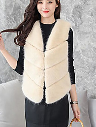 cheap -Women's Daily Simple Casual Fall Vest,Print Cape Long Sleeves Regular Cotton