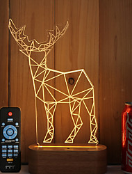 cheap -1 Set Of 3D Solid Wood LED Night Light USB Mood Lamp Remote Control Dimming Gift Antelope