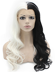 cheap -Women Synthetic Wig Lace Front Long Body Wave Black/White Natural Hairline Middle Part Party Wig Celebrity Wig Carnival Wig Cosplay Wig