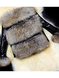 cheap -Women's Daily Simple Casual Fall Fur Coat,Print Cape Long Sleeves Regular Cotton