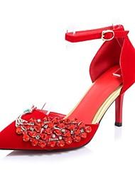 Damen Schuhe Glanz Kunstleder Frühjahr, Herbst, Winter, Sommer Neuheit High Heels Spitze Zehe Für Hochzeit Party & Festivität Schwarz Rot