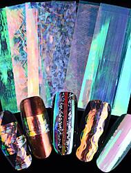preiswerte -6 teile / satz neue mode nail art 3d glänzende aufkleber aurora shell glisten linie aufkleber streifen welle einhorn nail art striping