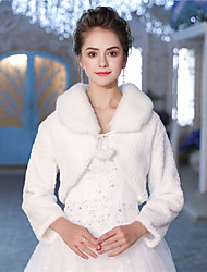 cheap -Long Sleeves Faux Fur Wedding Party / Evening Women's Wrap With Pattern / Print Shrugs