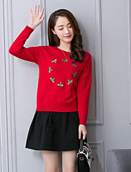 cheap -Women's Going out Casual Sweater Skirt Suits,Embroidery Cotton Micro-elastic
