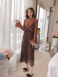 Set Robes Costumes Femme,Couleur Pleine Sortie simple Manches Longues Dentelle Coton