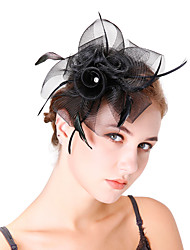 cheap -Tulle Net Feathers Fascinators Flowers Headpiece 1 Wedding Party / Evening Headpiece
