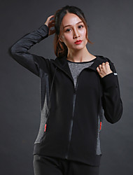 cheap -Women's Running Jacket Long Sleeves Thermal / Warm Breathable Hoodie for Running/Jogging Exercise & Fitness Terylene Black Grey S M L XL