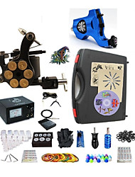 cheap -Tattoo Machine Professional Tattoo Kit 2 rotary machine liner & shader High Quality 2 x aluminum grip 20 Classic Daily