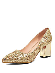 cheap -Women's Shoes Glitter Fall Comfort / Novelty Heels Chunky Heel Pointed Toe Gold / Silver / Red / Wedding / Party & Evening / Dress
