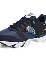 baratos -Homens sapatos Couro Ecológico Courino Primavera Outono Conforto Tênis Corrida para Atlético Casual Branco/Preto Preto/Vermelho Black /