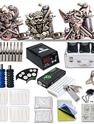 cheap -Tattoo Machine Professional Tattoo Kit 3 cast iron machine liner & shader High Quality LCD power supply 2 x stainless steel grip 2 x