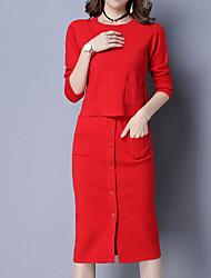 Set Robes Costumes Femme,Couleur Pleine Décontracté / Quotidien simple Hiver Automne Manches Longues Col Arrondi Acrylique