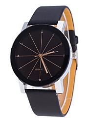 baratos -Homens Mulheres Relógio Casual Relógio de Moda Único Criativo relógio Chinês Quartzo Cronógrafo Couro Banda Casual Minimalista Preta
