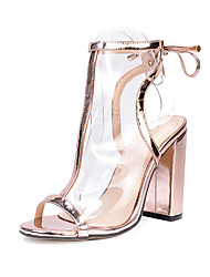 cheap -Women's Shoes Leatherette Spring / Fall Comfort / Novelty / Fashion Boots Sandals Gold / Almond / Wedding