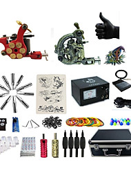 cheap -Tattoo Machine Professional Tattoo Kit 1 rotary machine liner & shader 1 alloy machine liner & shader High Quality 2 x aluminum grip 4 x
