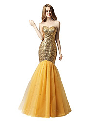cheap -Mermaid / Trumpet Sweetheart Floor Length Sequined Prom Formal Evening Dress with Sequins Bandage by Sarahbridal