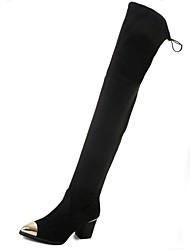 preiswerte -Damen Schuhe Vlies Winter Herbst Reitstiefel Stiefel Blockabsatz Spitze Zehe Oberschenkel-hohe Stiefel Paillette Für Normal Schwarz