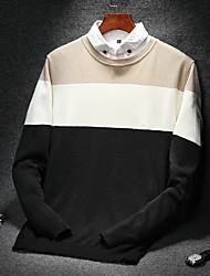 cheap -Men's Daily Wear Plus Size Casual Regular Pullover,Striped Round Neck Long Sleeves Cotton Winter Fall Medium Micro-elastic