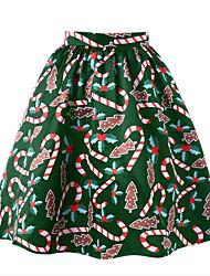 preiswerte -Damen Niedlich Aktiv Ausgehen Lässig/Alltäglich Mini Röcke A-Linie,Acryl Druck Frühling/Herbst Jahreszeiten