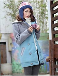 Women's Daily Hoodie Jacket Color Block Letter Cotton Polyester