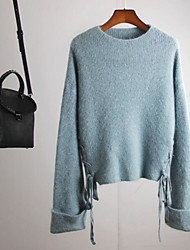 cheap -Women's Daily Wear Regular Pullover,Solid Round Neck Long Sleeves Polyester Winter Autumn Opaque Micro-elastic