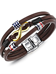 preiswerte -Herrn Leder Wickelarmbänder - Freizeit Cool Geometrische Form Braun Armbänder Für Alltag Formal